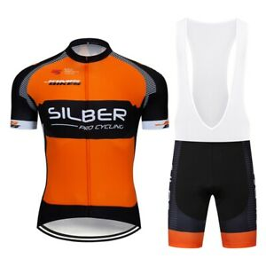 Summer Cycling Mens Jersey Brace Bibs Shorts Set Short Shirt Padded Pants Kits