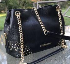 Michael Kors Jet Set Black Leather Gold Studed MD Chain Messenger  Bag   Purse