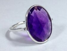 Solitaire Oval Amethyst Sterling Silver Fine Rings