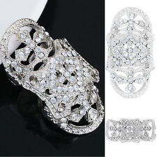 Gothic Punk Rhinestone Cross Hinged Knuckle Joint Armor Long Full Finger Ring