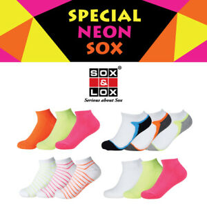 SOX & LOX - Special Neon Low Cut Socks ** 3 for $15** Cushioned or Thin [KOREA]