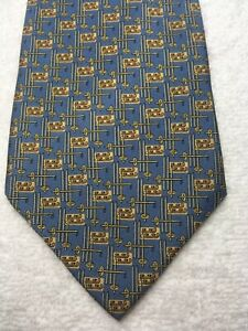 BANANA REPUBLIC MENS TIE BLUE WITH GRAY AND GOLD 4 X 59