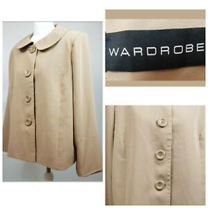 Wardrobe Beige Chunky Buttons Long Sleeve Padded Shoulder 60 70s Jacket 18 A001