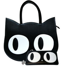 Banned Apparel Cat Kitty Eyes Paw Large Faux Shoulder School Bag & Wallet SET
