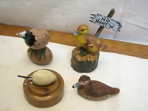Vintage Wood Feather Carved Birds Ducks Chicks Hatching in Egg Figurine Lacoste