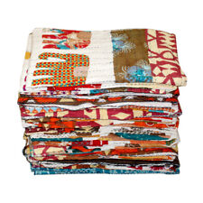 Kantha Quilt Twin Bedspread Elephant Print Cotton Bedding Bedcover Blanket Throw