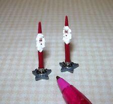 Miniature Pair Red Santa Christmas Candles w/Metal STAR Bases: DOLLHOUSE 1/12
