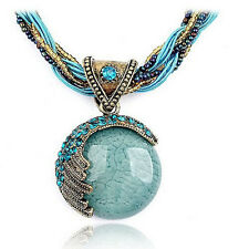 Last One Bohemian Jewelry Statement Necklace Women Rhinestone Gem Pendant Collar