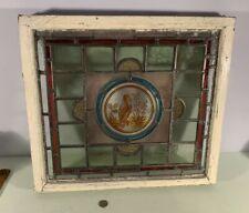 Antique 1880's English small stained glass window original sash bird center