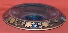 Rolled Edge Blue Console Bowl With Rose Pattern Silver Overlay