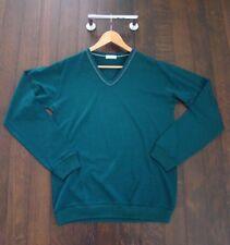 Margaret Howell Men's V-neck Sweater Green Medium Size M Contrast Stitching NWOT