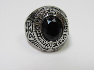 Harley Davidson Men's Black Onyx Varsity Biker Ring Size 12 Steel!
