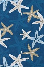 "7x10 (7'6"" x 9') Tropical Coastal Nautical Starfish Blue Indoor Outdoor Area Rug"