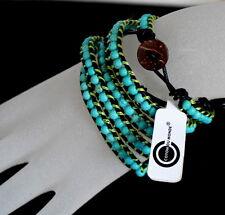 Luxus Lederarmband Wickelarmband Türkis 5 Wrap Perlen Sürf  Paris Armband