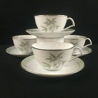 Set of 4 VTG Cups and Saucers Narumi China Southwind Bamboo Green Gray Japan