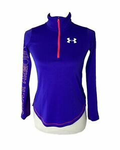 Girls Size Large Under Armour big logo blue and purple Fitted athletic Pullover