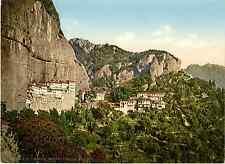 Grèce. Couvent Mega Spileon. Photochrome original d'époque, Vintage photoch