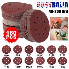 160pcs Aluminum Oxide 5inch Sanding Discs 125mm 8 Hole Pads Sander Sandpaper