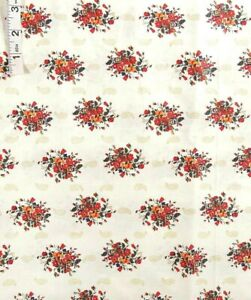 3 yds Red,Org,Blue Floral Bunch Print,Beige Cotton Quilt Fabric,Apparel,Concord