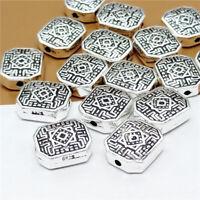 4pcs of 925 Sterling Silver Flat Greek Rectangle Maze Bead For Bracelet Necklace
