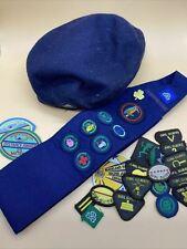 More details for vintage/retro girl guides beret, sash &  22 badges bundle  - see pictures