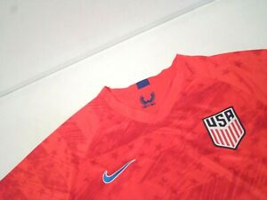 Nike Men's USA Soccer Shirt Size Large Red Dri-Fit Moisture Wicking V-Neck Top