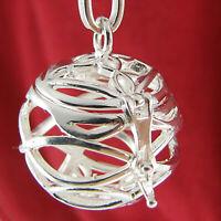 Lebenskugel - 925 Silber Klangkugel Käfig Anhänger zum Öffnen Amulett Talisman