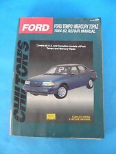 CHILTON'S FORD TEMPO/MERCURY TOPAZ 1984-92 REPAIR MANUAL U.S. & CANADIAN MODELS