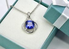 STUNNING TANZANITE INFINITY NECKLACE Cushion Cut 8mm .925 Sterling Silver