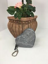Coach Coin Purse Wallet Heart Metallic Silver Jewel Leather Keychain 44477 W6