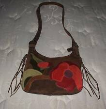 NEW COACH CHOCO BROWN SUEDE RED FLORAL POPPY FOR PEACE HIPPIE MESSENGER BAG RARE