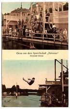 """1915, AK, Berlin, Gruss aus dem Sport-Seebad """"Halensee"""", Verlag: Reinhold Schulz"""
