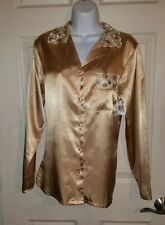 PINK Gold Satin Like Lace Embroidered Long Sleeve Button Down M Night Shirt NWT