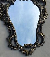 Espejo de Pared Ovalado Barroco Oro Plata Negro Blanco 50x76cm Antiguo Shabby