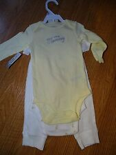 """Carter's 3 Piece Yellow Stripe """"I Love Mommy"""" and Duck bodysuit and pants Sz 9M"""