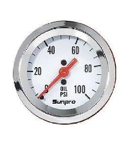 """Sunpro 2"""" Mechanical Oil Pressure Gauge 0-100 PSI White, Chrome Bezel New CP8206"""