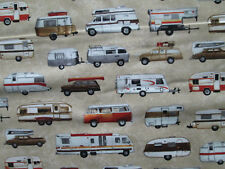 Retro Trailers Campers Rvs Vw Bus Motorhomes Tan Cotton Fabric Fq