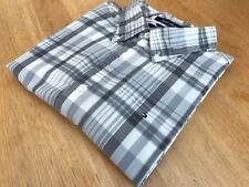 """Tommy Hilfiger """"isla Madras's Crema Y Gris compruebe Camisa-Talla XL - 17"""" - EU42"""