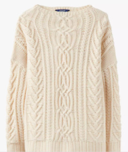 JOULES Cara Cable Knit Jumper Cream Sz 18 RRP£74.95 FreeUKP&P