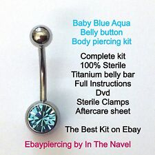 Body piercing kit. belly button, BABY BLUE, AQUA. Professional sterile kit.