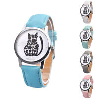 CW_ FA- Women Letter Cat Dial Faux Leather Band Analog Quartz Wrist Watch Gift L