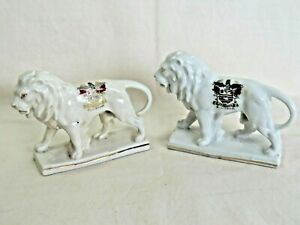 Crested Ware China. Pair Lions. Blackpool Coat of Arms. Germany 4166. 8cm high
