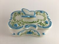 Ceramic trinket box butterfly flowers blue green