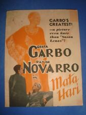 "Old vintage Hollywood Paper Movie Herald of Movie ""Mata Hari"" from USA 1935"