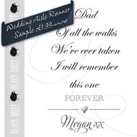 Personalised WEDDING AISLE RUNNER SAMPLE. Church/Venue Carpet Decorations.