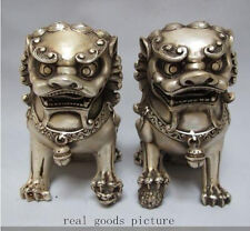 Rare Chinese Silver Guardian Lion Foo Fu Dog Statue Pair 12cm High