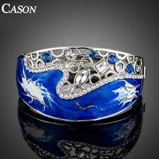 Fashion Austrian Crystal Blue Oil Painting Pattern Cuff Bangle Bracelet Jewelry