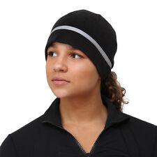 TrailHeads Women's Ponytail Hat - Reflective Cold Weather Running Beanie - black