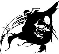 Grim Reaper Head Skull Scythe Car Truck Window Laptop Vinyl Decal Sticker