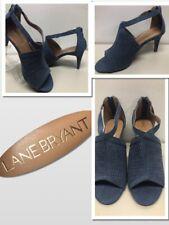 LANE BRYANT NEW Blue Faux Suede Size 7W  Slingback Dress Heels NWOB. 649156